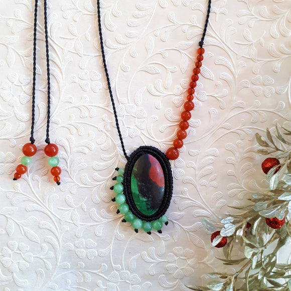 Pedant Necklace - Sonoran Sunset cabochon, Green Moonstone and Carnelian beads
