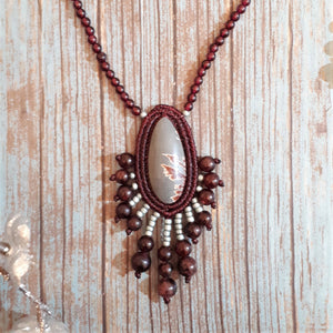 Pendant Necklace - Dendritic Sonoran cabochon, Garnet and TOHO beads