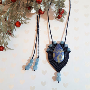 Pendant Necklace - Sodalite cabochon and Aquamarine beads