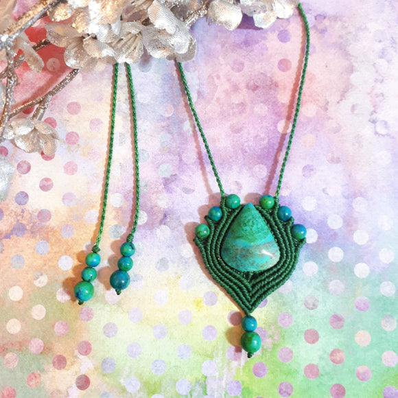 Pendent Necklace - Chrysocolla cabochon and beads