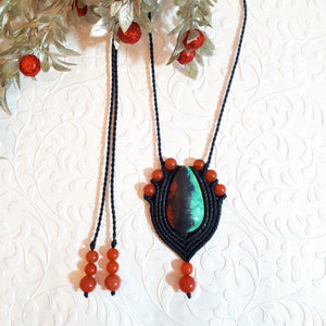 Pendant Necklace - Sonoran Sunset cabochon and Carnelian beads