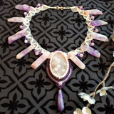 Choker with Quartz druzy, Amethyst and Kunzite