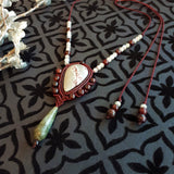 Pendant Necklace - Dendritic Sonoran cabochon, Garnet and Labradorite beads