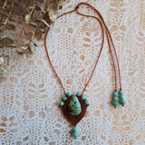 Pendent Necklace - African Turquoise cabochon and Amazonite beads