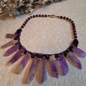Choker with Amethyst and Lepidolite
