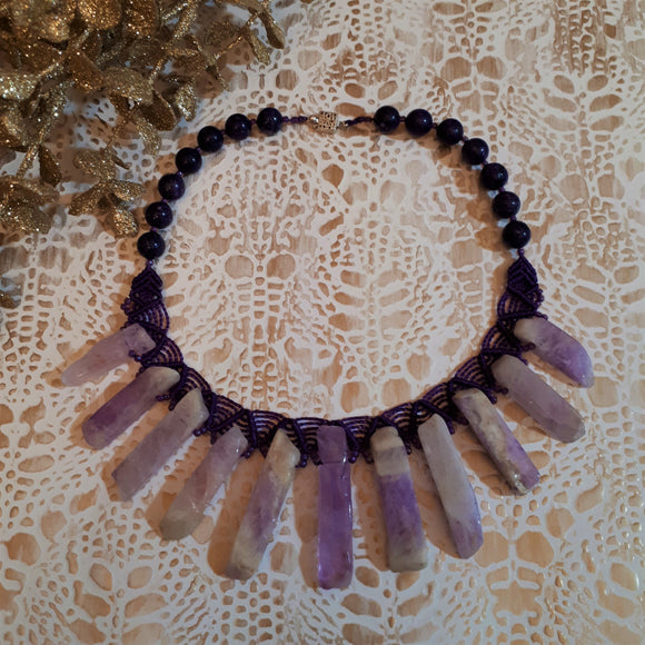 Choker with Amethyst and Charoite