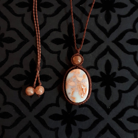 Mystic Duet Necklace - Cotton Candy Agate & Sunstone