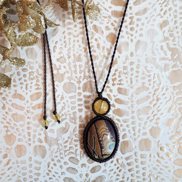 Mystic Duet Necklace - Dendritic Sonoran & Citrine