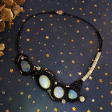 Navy necklace with Rainbow Moonstone, Goldstone and Sterling Silver