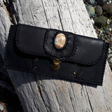 Black Leather Wallet with Chalcedony Stone