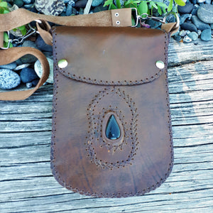 Brown Leather Purse with Black Onyx Stone