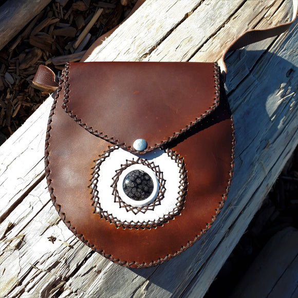 Brown Leather Purse with Snowflake Obsidian