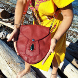 Red Leather Purse with Green Jasper Stone