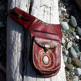 Red Leather Festival Hip Bag with Chalcedony Stone