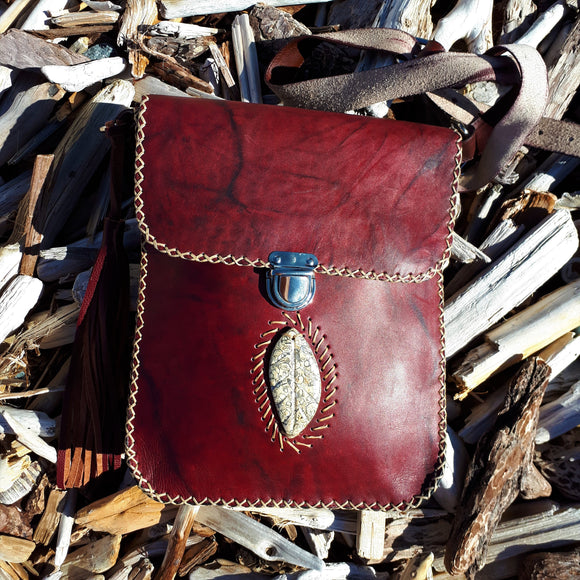 Red Leather Shoulder Bag with Fossilized Stone