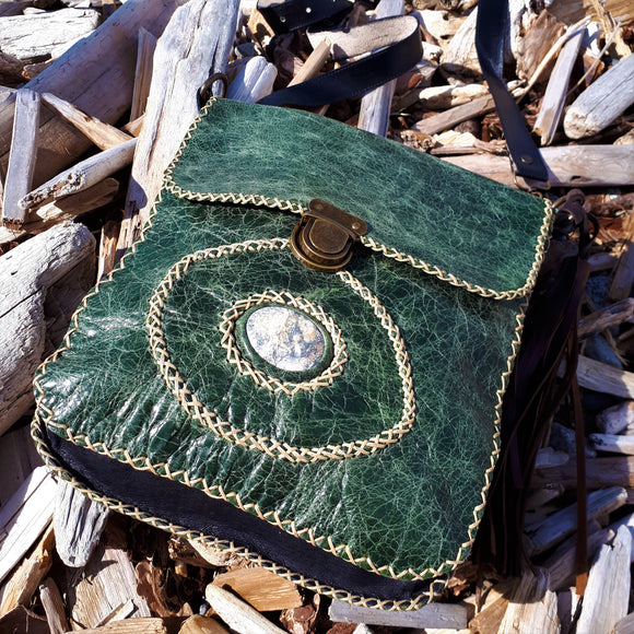 Green Leather Shoulder Bag with Chalcedony Stone