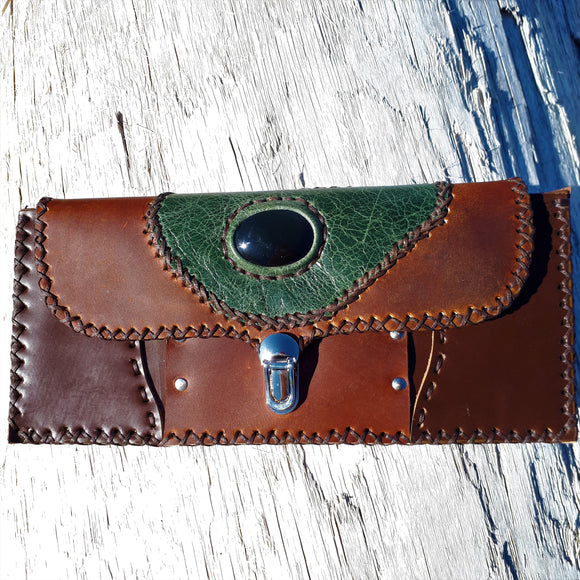 Brown and Green Leather Wallet with Rainbow Obsidian Stone