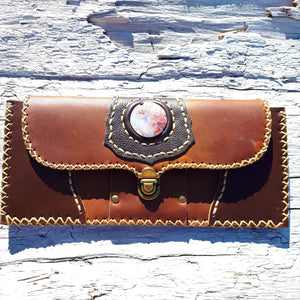 Brown Leather Wallet with Brecciated Pink Agate Stone