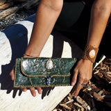 Green Leather Wallet with Chalcedony Stone