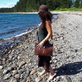 Brown Leather Satchel with Amber Stone