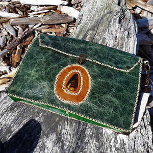 Green Leather Satchel with Amber Stone