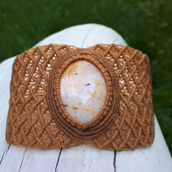 Cuff with Petrified Palm-tree cabochon