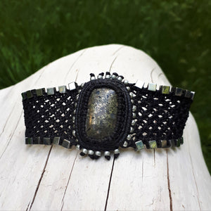 Cuff with Galaxy Quartz cabochon and Hematite beads