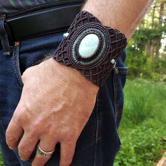 Cuff with Larimar cabochon and beads