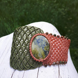 Cuff with Unakite cabochon and beads