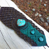 Cuff with Kingman Turquoise cabochon and beads