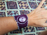 Cuff with Sugilite cabochon & glass beads