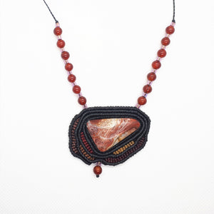 Pendant - Crazy Lace Agate cabochon, Carnelian and Glass beads