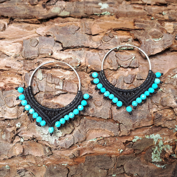 Sterling Silver Earrings - big hoop with Turquoise