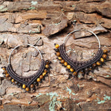 Sterling Silver Earrings - big hoops with Tiger's Eye