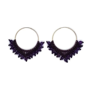Sterling Silver Earrings -big hoops with Amethyst