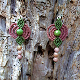 Fine Silver Earrings with B.C. Jade and Rhodochrosite
