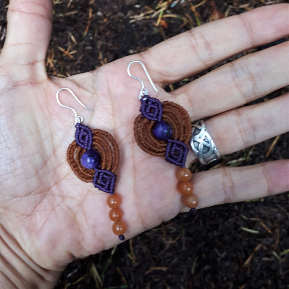 Fine Silver Earrings with Charoite and Carnelian