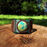 Cuff with Primaverde Turquoise cabochon and glass beads