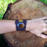 Cuff with Tiger's Eye cabochon and Miyuki square glass beads