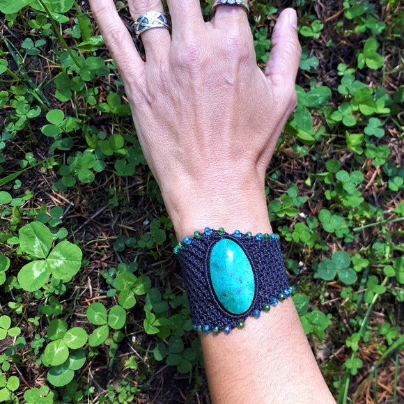 Cuff with Chrysocolla cabochon and crystal beads