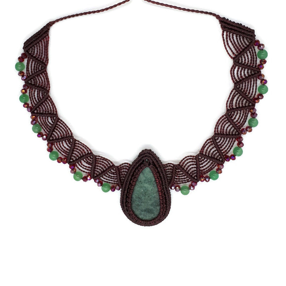Choker - Jade cabochon, Aventurine and Crystal beads