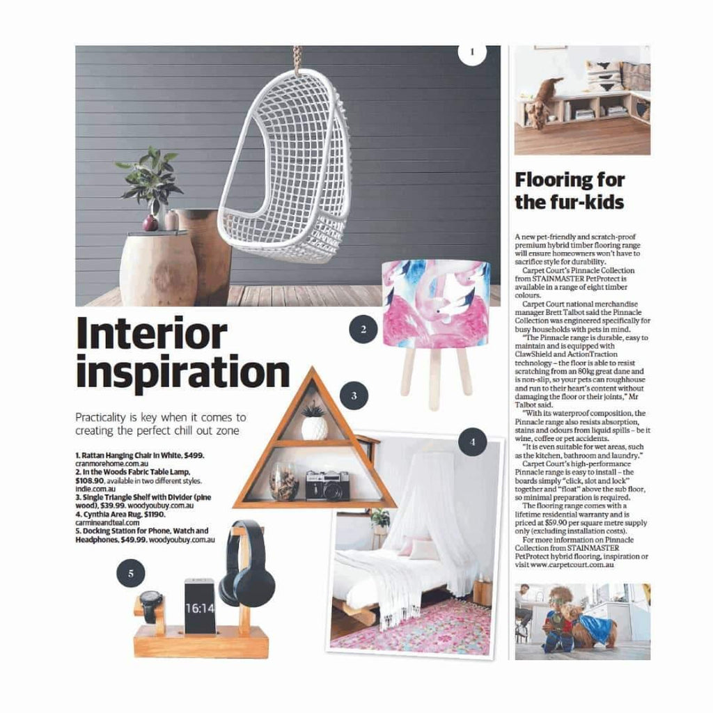 Triangle Shelf and Docking Station featured at the Courier Mail - Woodyoubuy