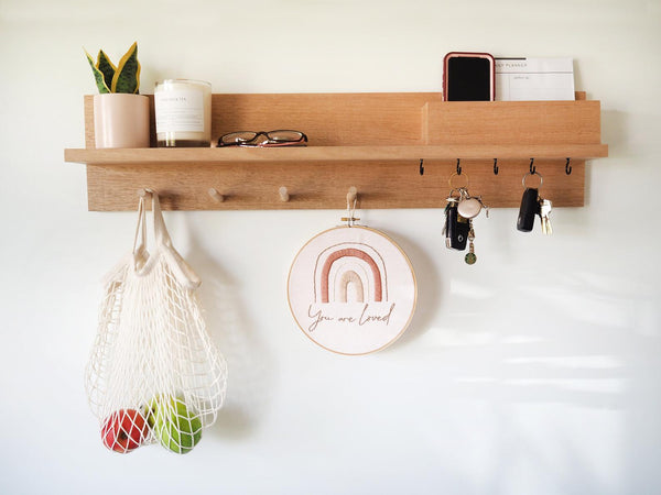 All-In-One Entryway Organiser with Hook Keyholders (Tasmanian Oak Wood)
