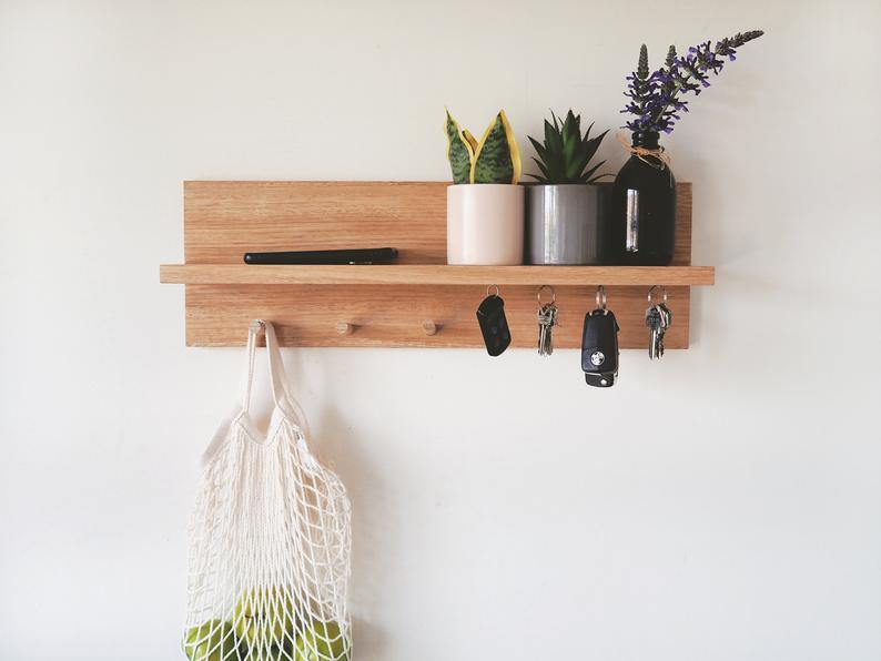Coat Rack Entryway Shelf with Magnetic Key Holder (Oak) 55cm - Woodyoubuy