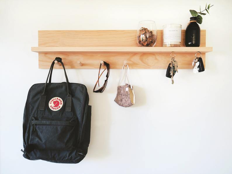 Coat Rack Entryway Shelf with Magnetic Key Holder (Pine) 80cm - Woodyoubuy