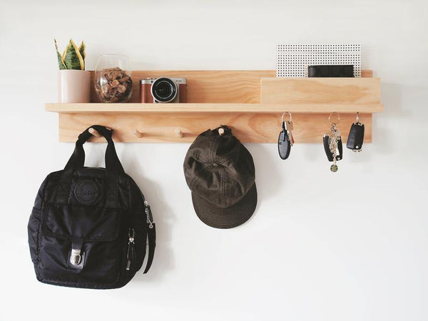 All-In-One Entryway Organizer (Pine) 80cm - Woodyoubuy
