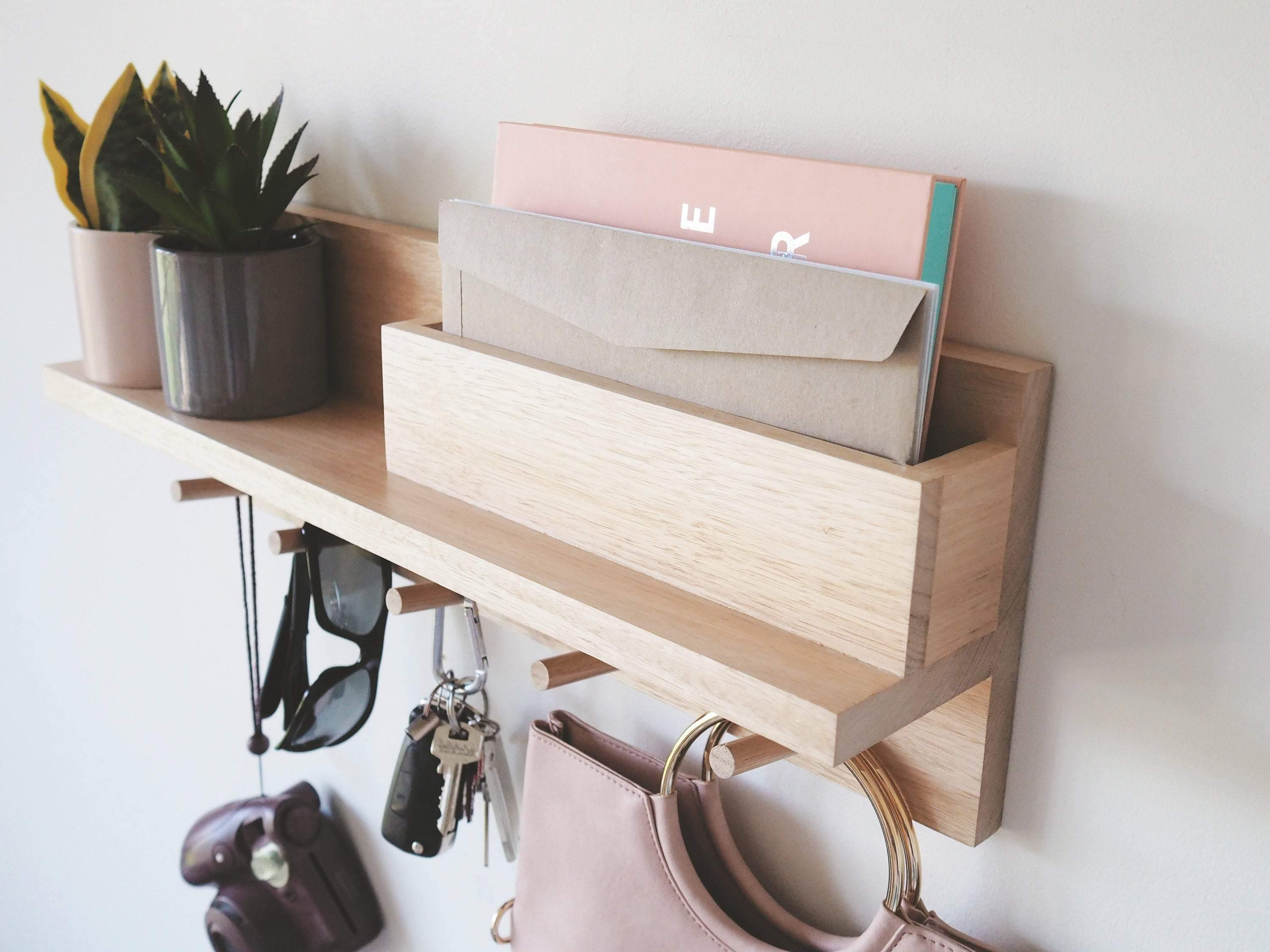 Coat Rack Entryway Organiser with Mail Holder (Oak) 55cm - Woodyoubuy