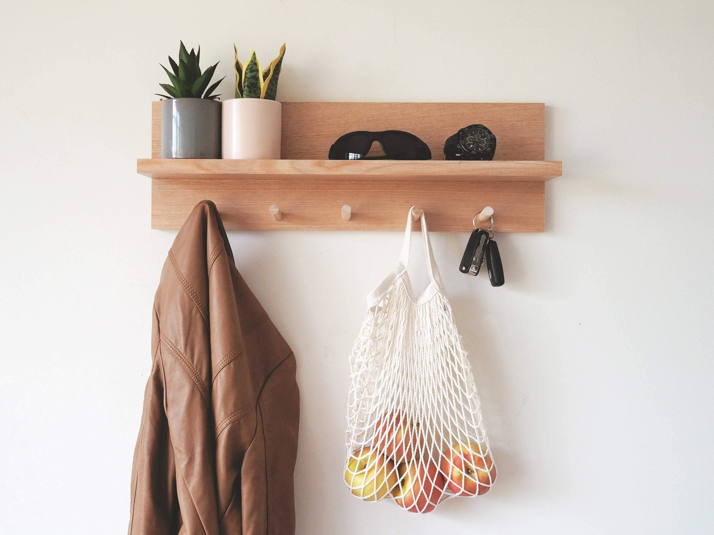 Coat Rack Entryway Organiser Shelf (Oak) 55cm - Woodyoubuy