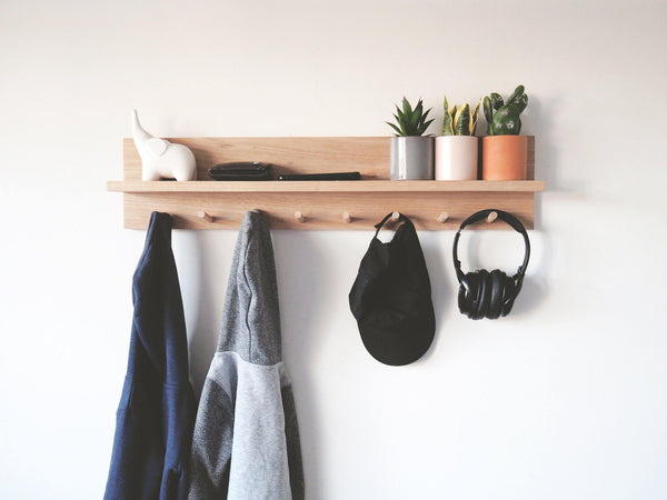 Coat Rack Entryway Organiser Shelf (Oak) 80cm + 8 pegs - Woodyoubuy
