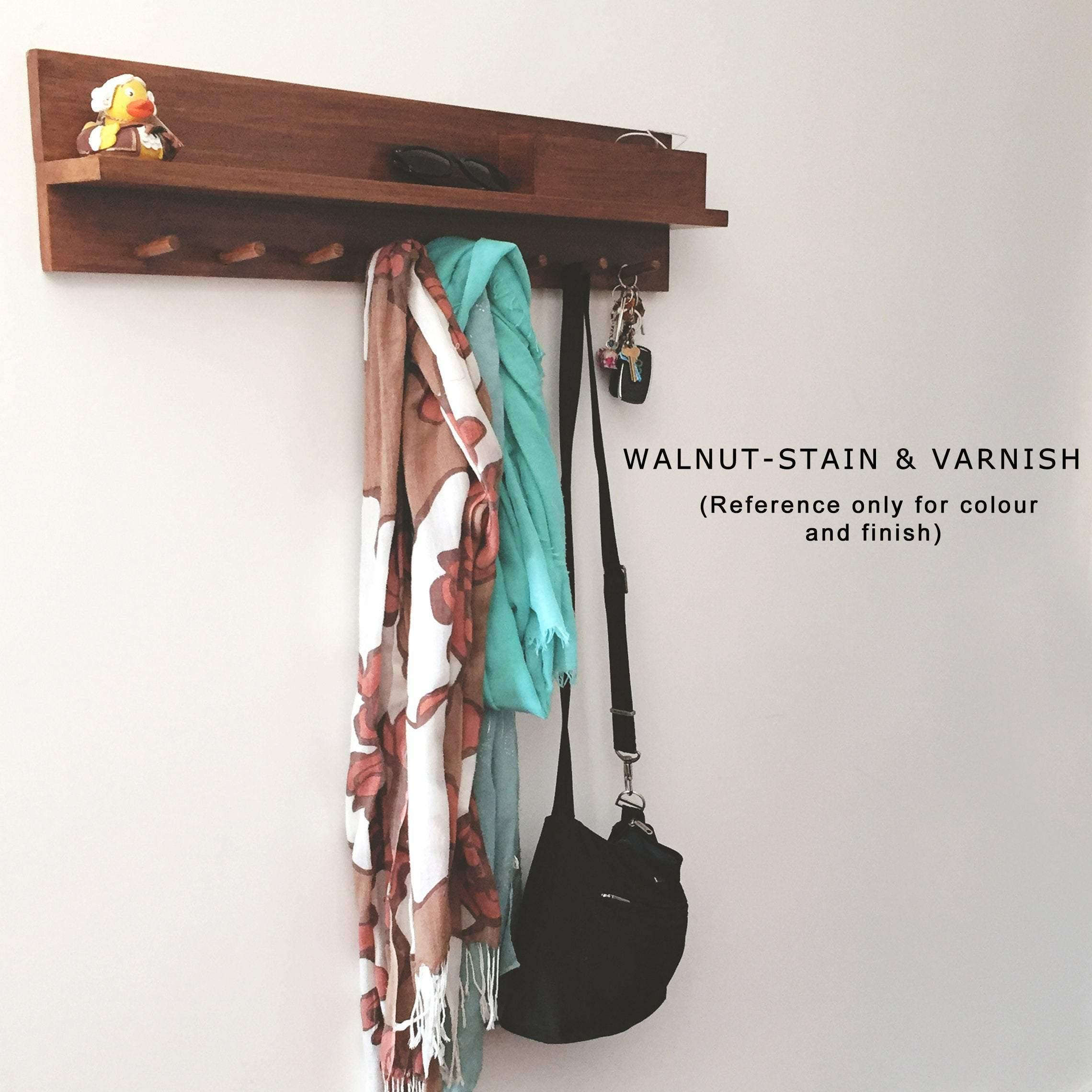 Coat Rack Entryway Organiser Shelf (Oak) 80cm + 6 pegs - Woodyoubuy